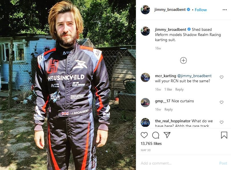 picture of Jimmy in his racing suit