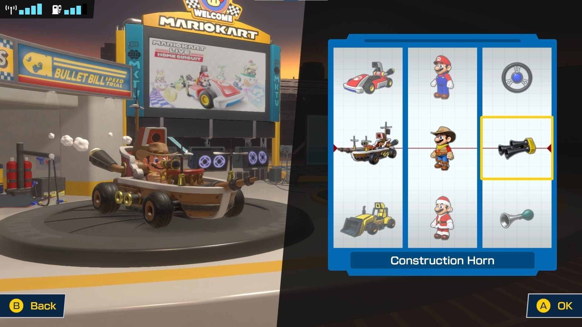 Cosmetic menu Mario in cowboy costume in ship kart.