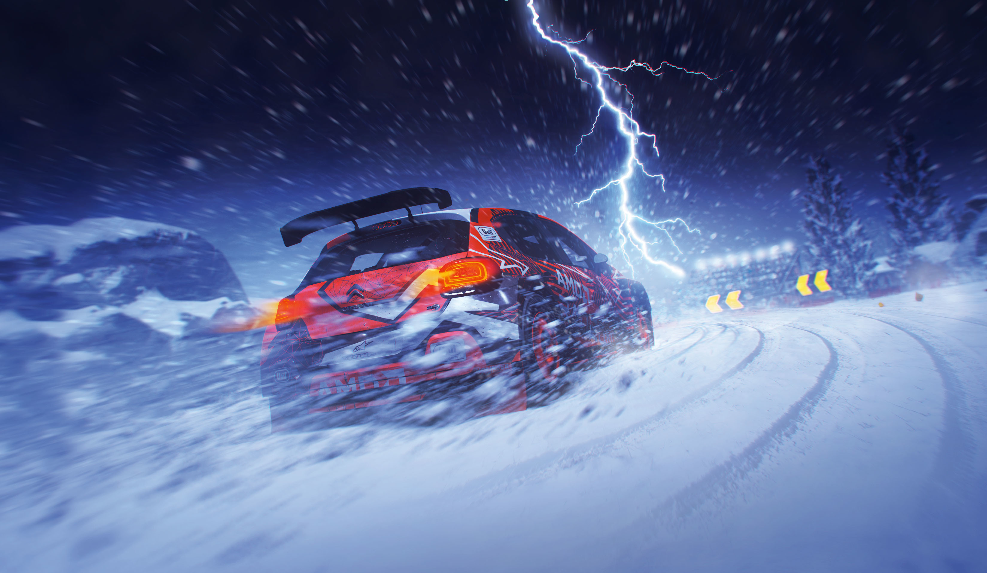 Rally car driving through thunderstorm