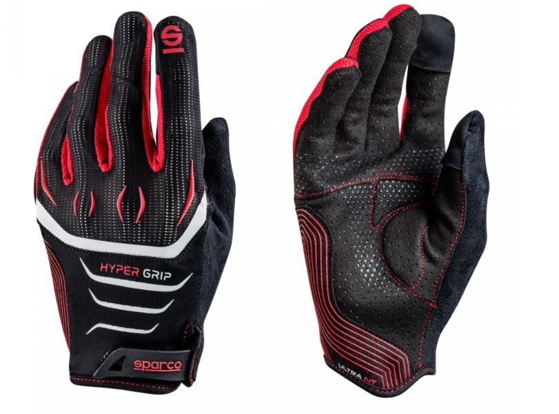 The image shows a pair of racing gloves in a soft suede material.