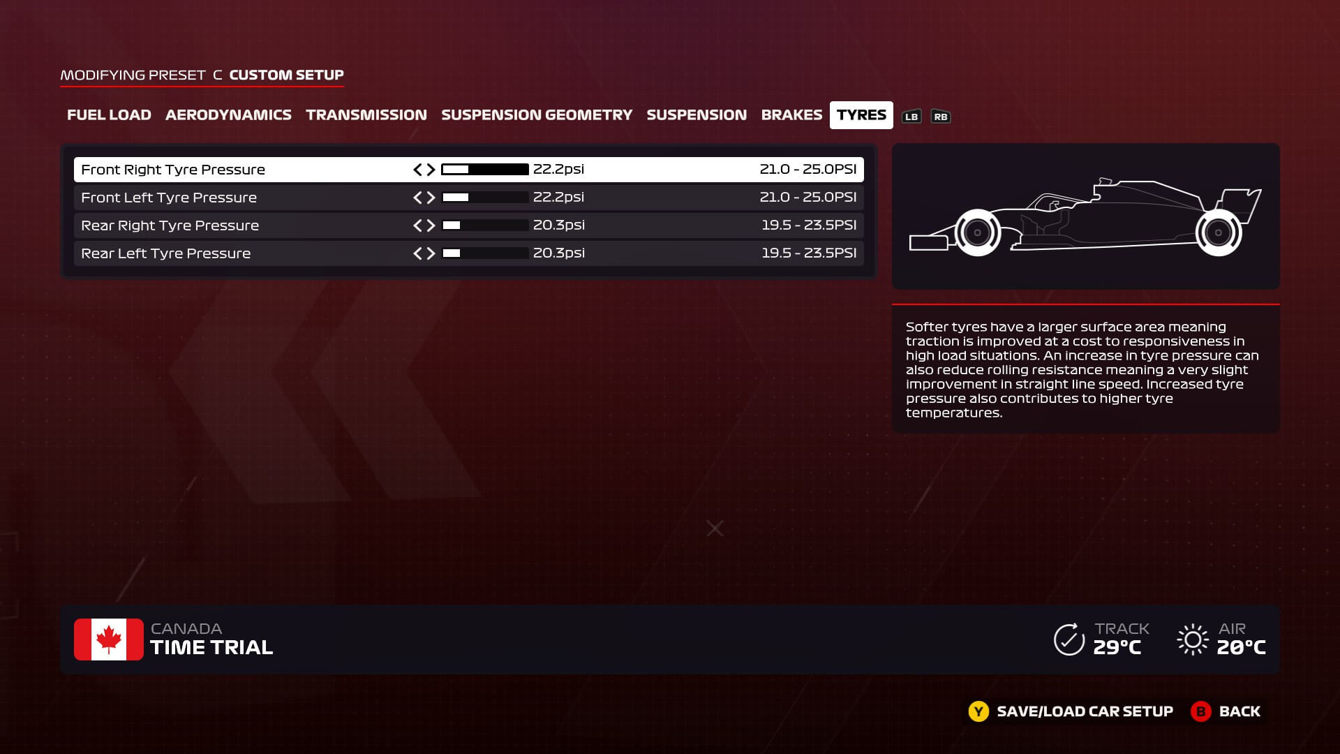 An image of the tire pressure setup screen in F1 2020. The tyre pressures are lower than the default values.