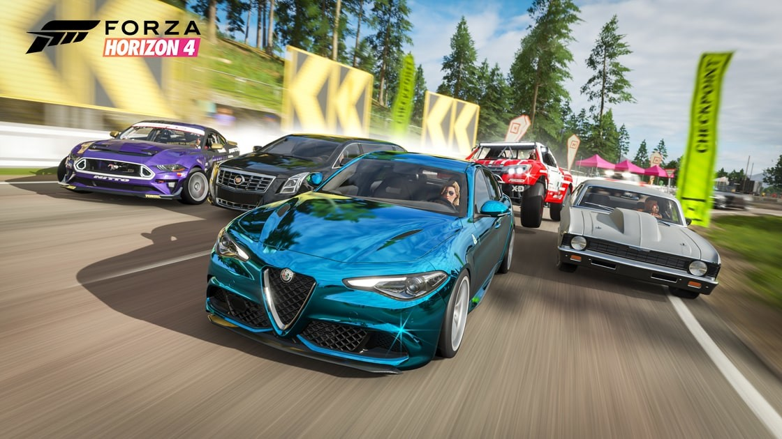 An image displaying five cars racing alongside each other in Forza Horizon 4