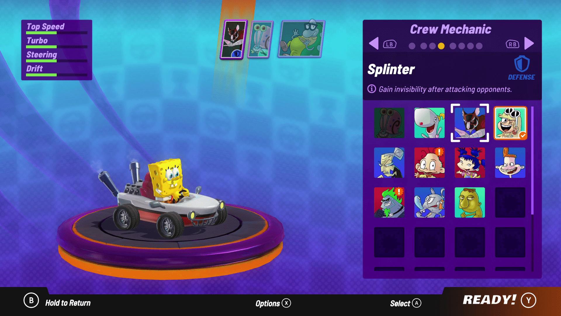 Spongebob Squarepants in the character menu