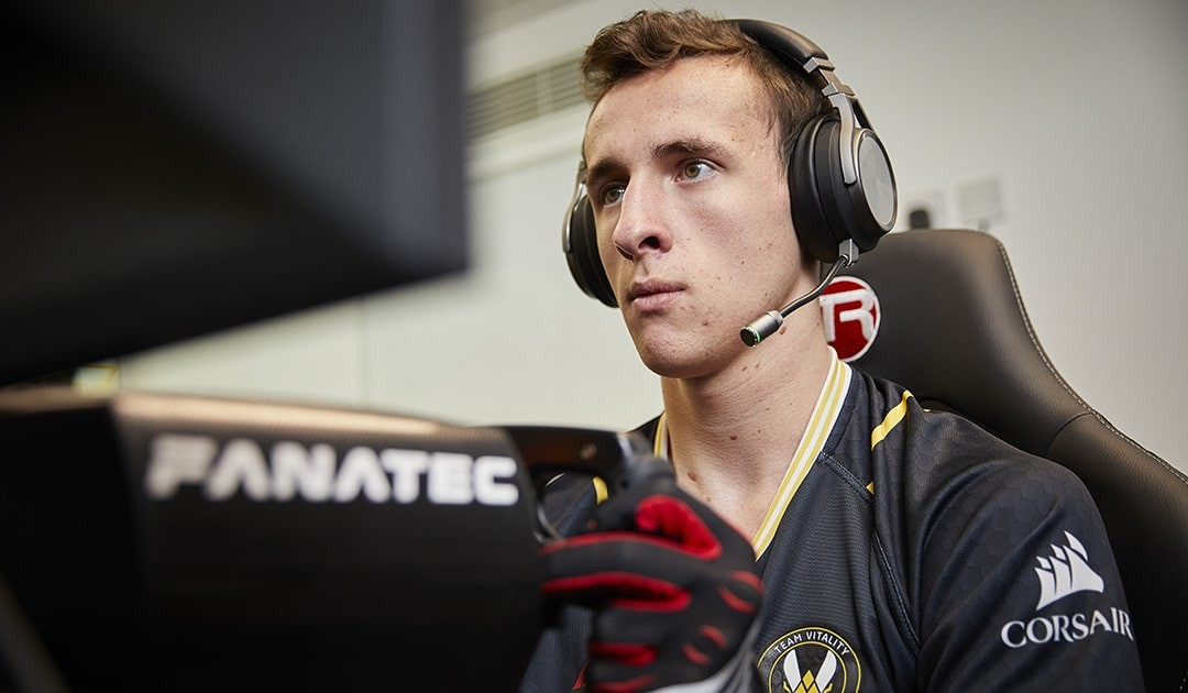 Renault Sport Team Vitality's Nicolas Longuet is extremely focused while playing F1 2020.