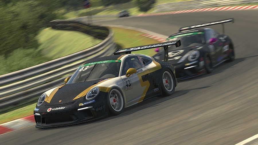 An image of two Porsche 911 GT3 cars racing together in iRacing.