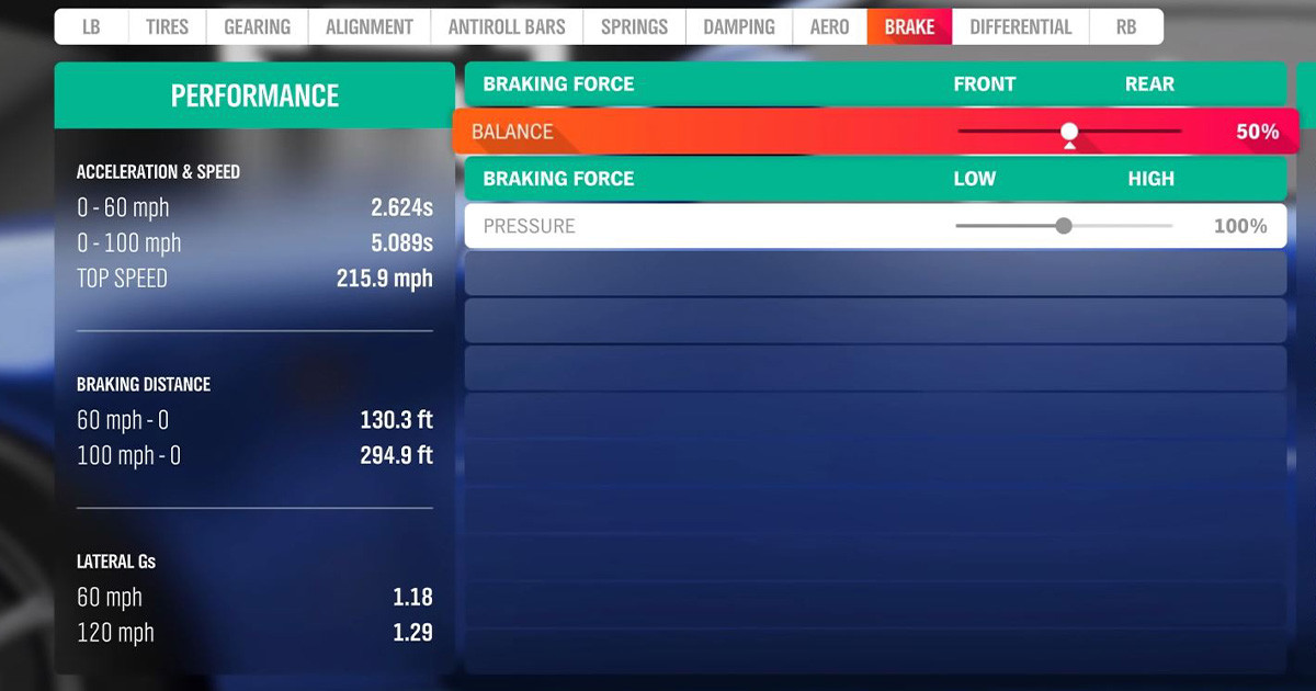 tuning menu for brakes in Forza Horizon 4.