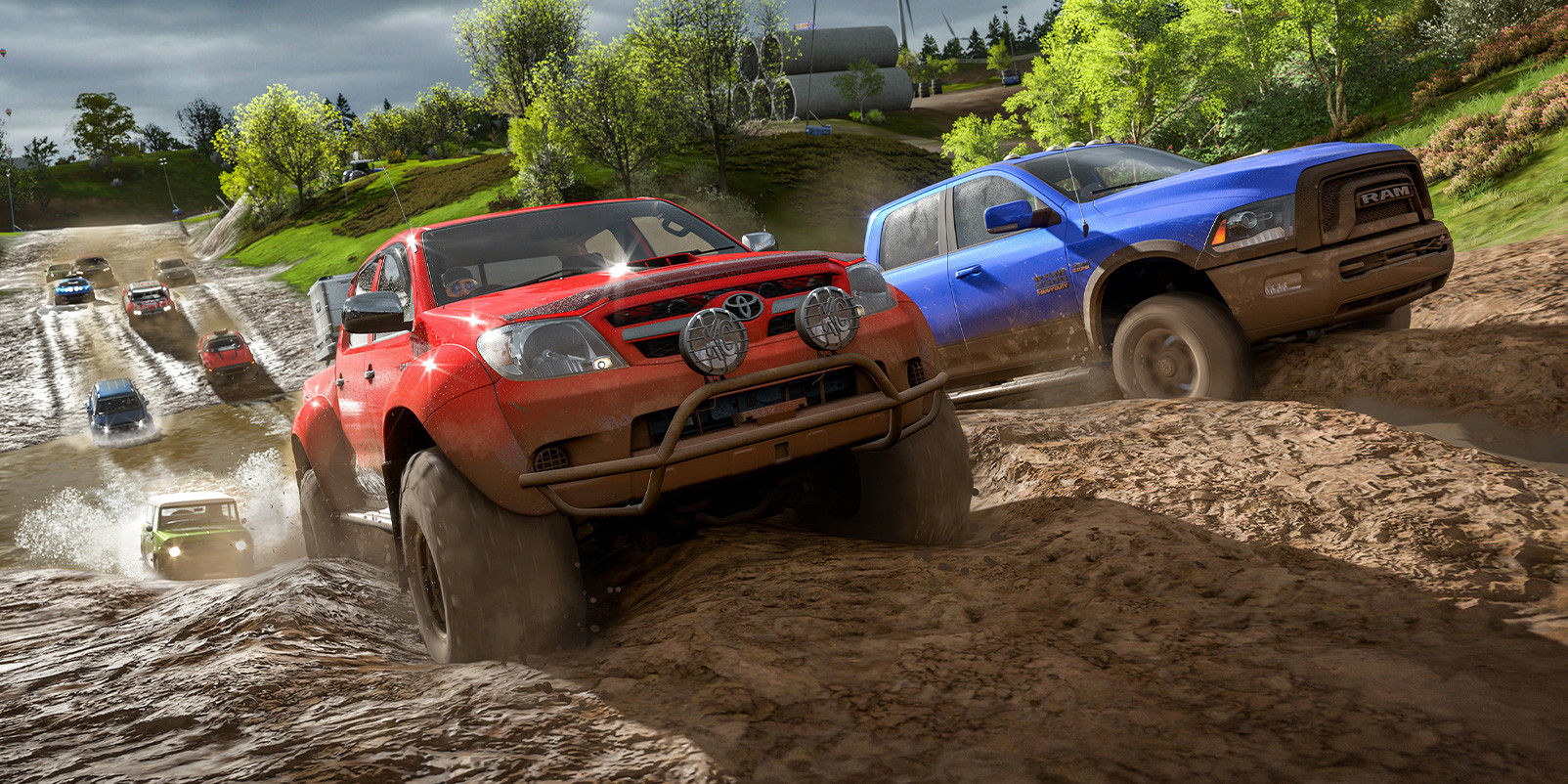 several off-road vehicles driving up a hill in Forza Horizon 4.
