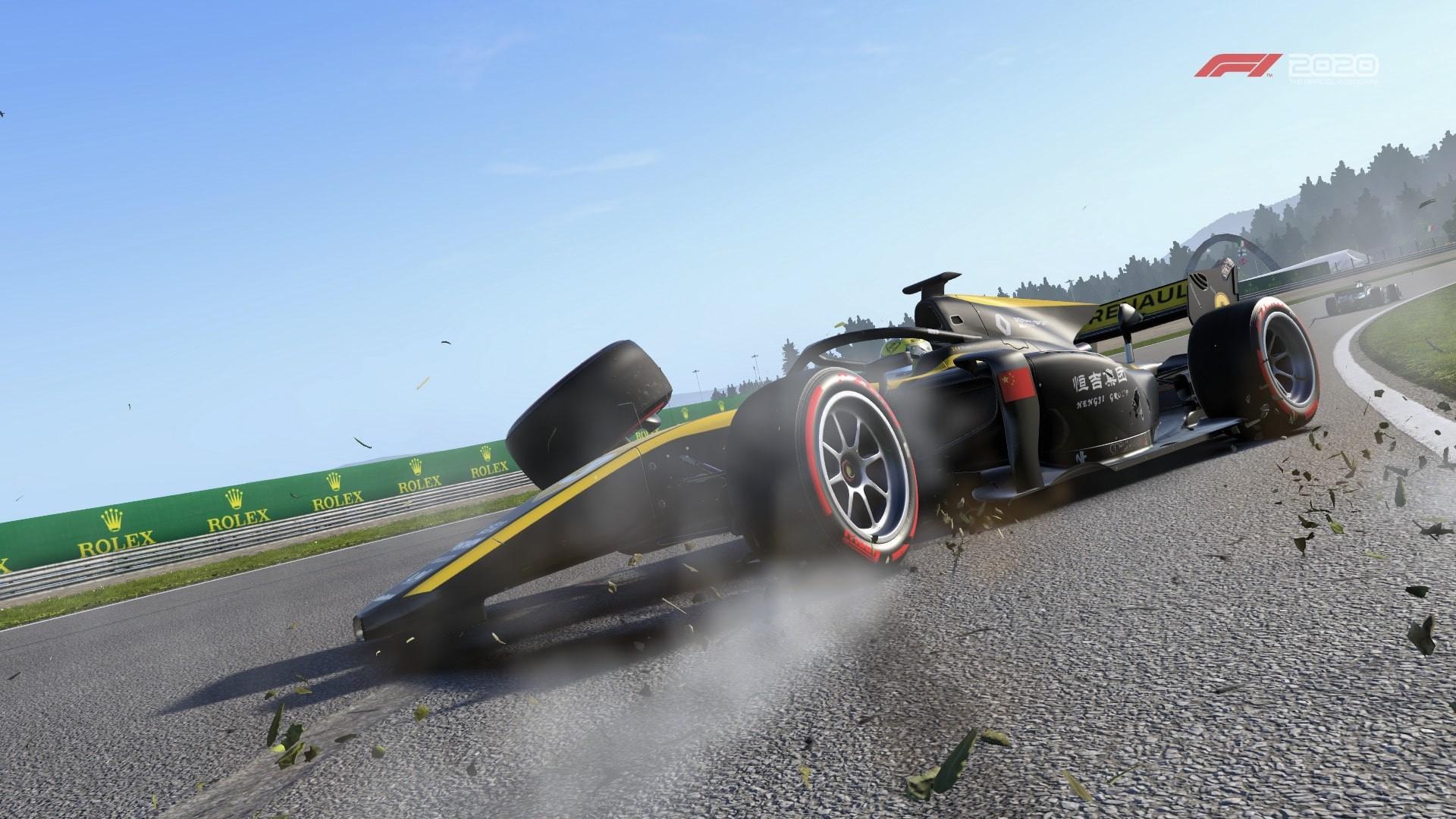 An image of a Uni-Virtuosi Formula 2 in the F1 2020 game having spun out causing terminal damage to the car
