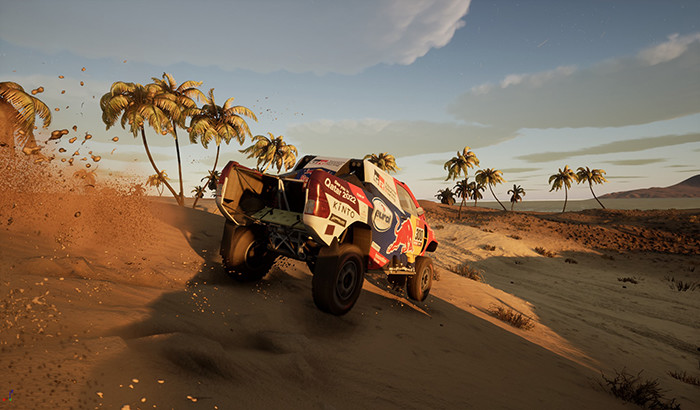 picture of a rally truck driving through the desert