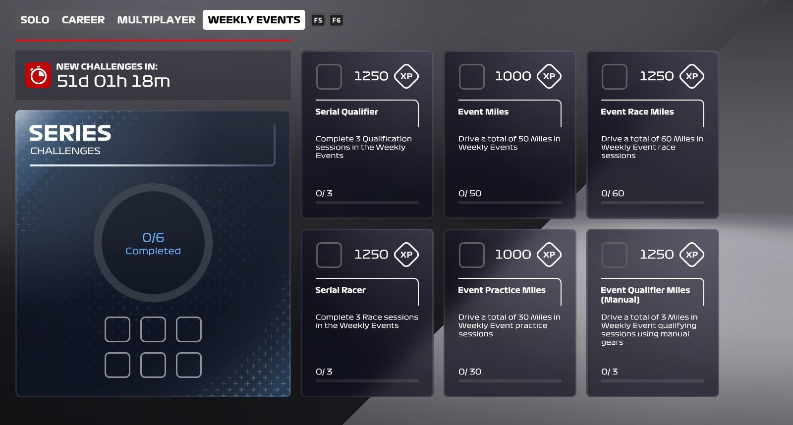 Picture of the Weekly Events challenges