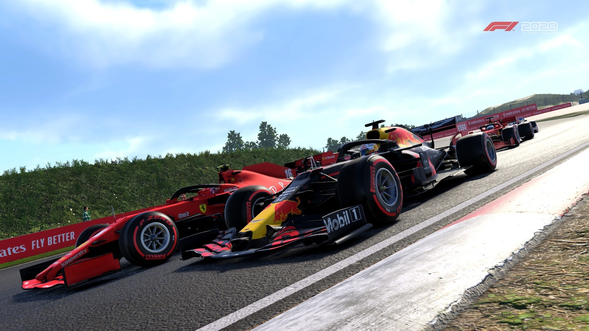 An image of Max Verstappen's Red Bull alongside the Ferrari of Charles Leclerc at Zandvoort in F1 2020.