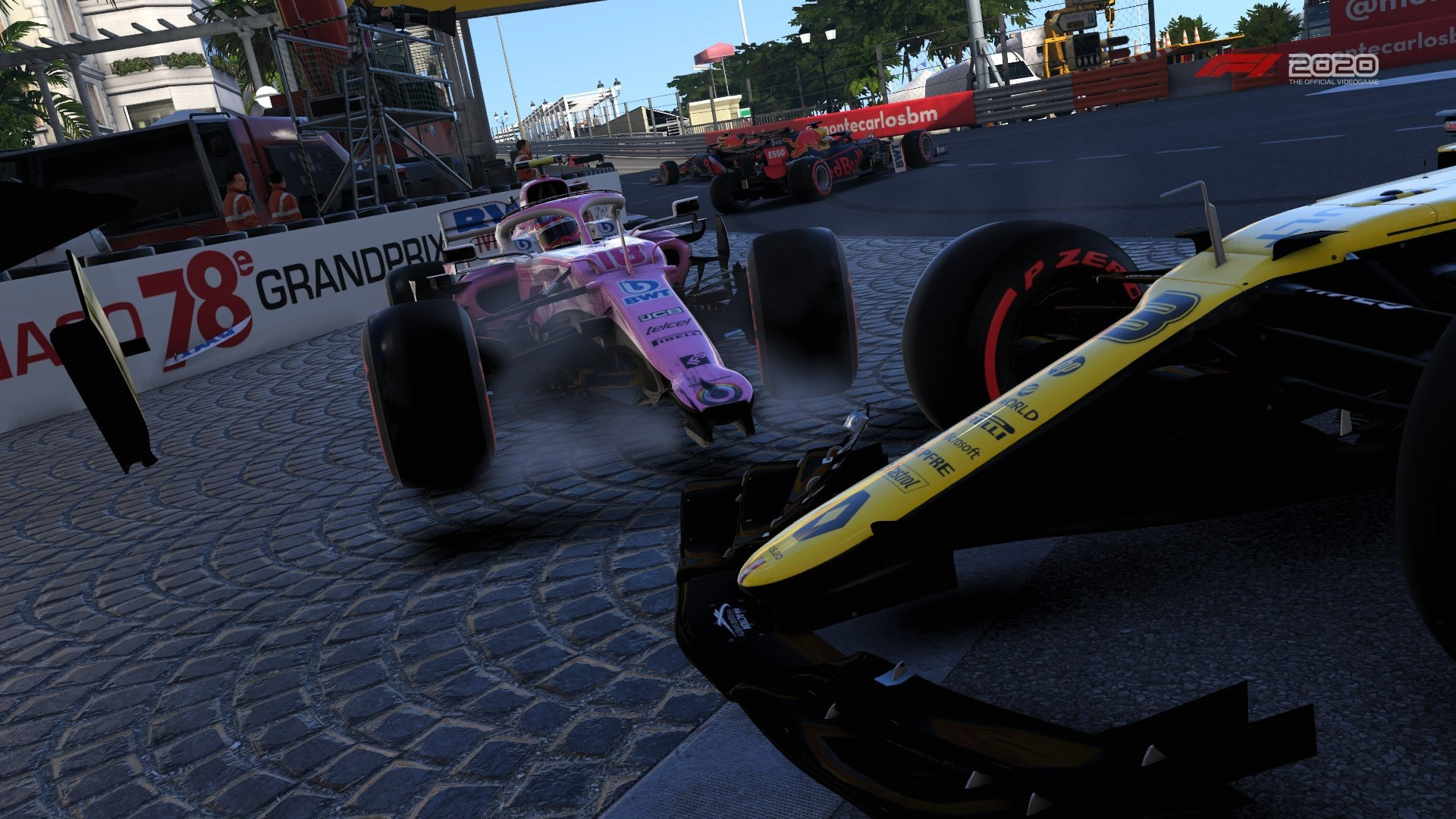 An image of Lance Stroll's damaged Racing Point after a collision with the Renault of Daniel Ricciardo at Monaco.