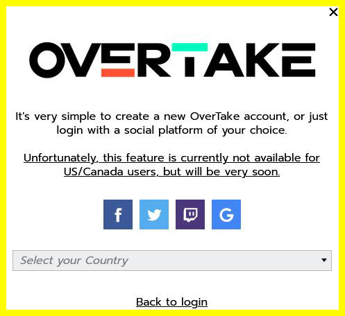 screenshot of the window after clicking on Sign-Up. Social Media icons above a field that says Select your country