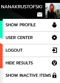 screenshot of when you click on your new account picture on the very top right of the screen. Dropdown menu with Show profiel and user center