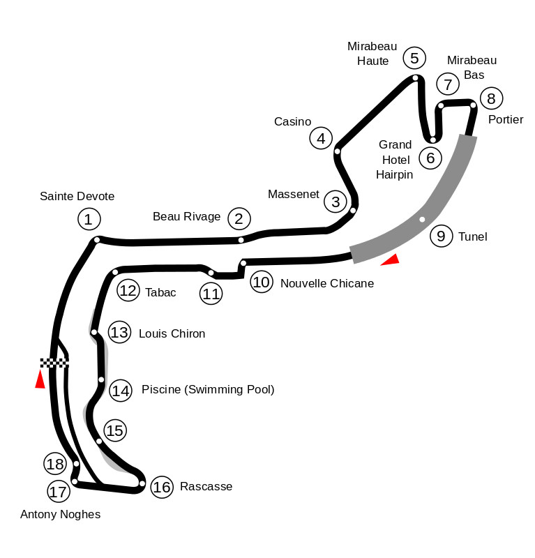 Map of the Circuit de Monaco