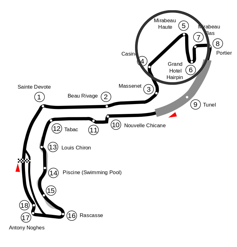 Map of the Circuit de Monaco with turn five and six marked.