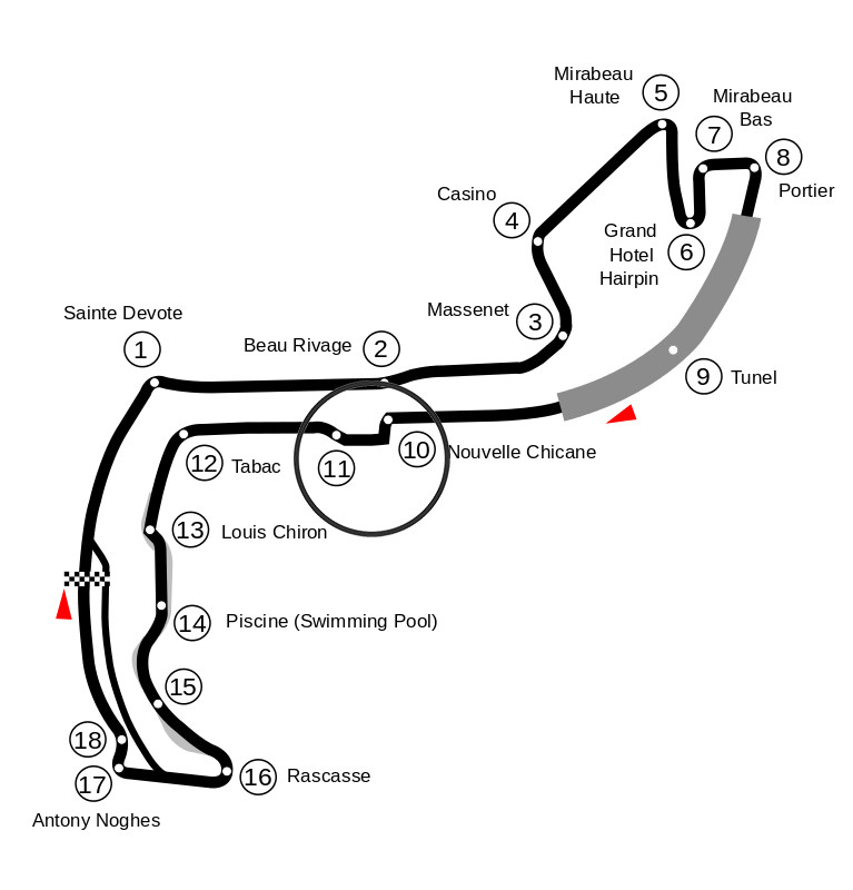 Map of the Circuit de Monaco with turn ten marked.