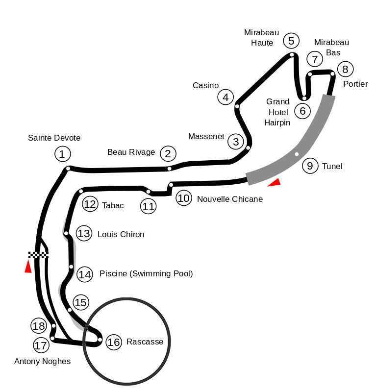 Map of the Circuit de Monaco with turn 16 marked.
