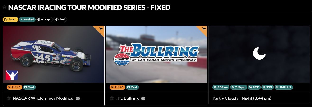 Example of a fixed series on iRacing