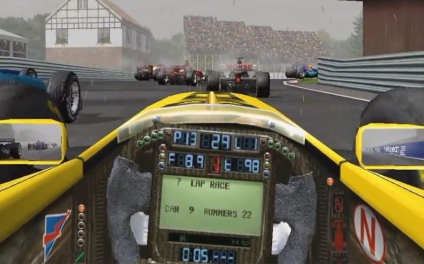 Picture from Grand Prix 3 from the cockpit of an F1 car