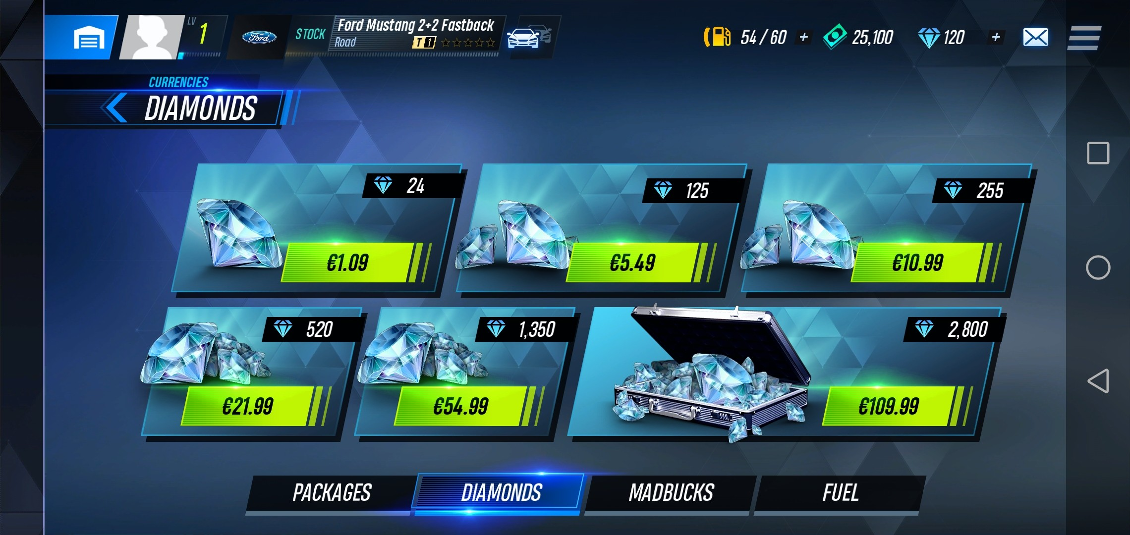 The image shows Diamonds, an in-game currency, which can be bought for actual money.