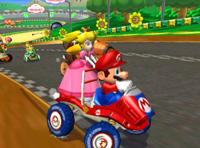 An image of Peach and Mario racing in the game Mario Kart: Double Dash