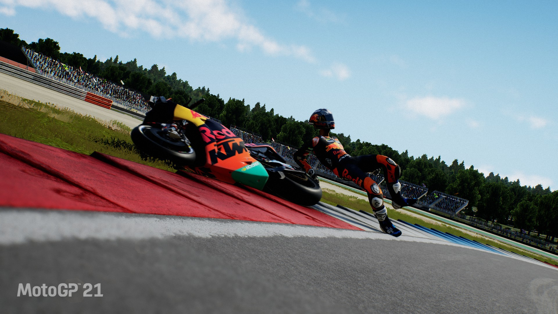 An image of a rider falling from their bike in MotoGP 21.