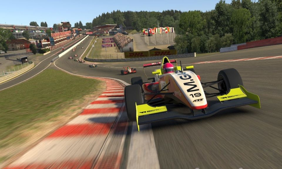 An image of Marta Garcia's W Series car racing at Spa in iRacing