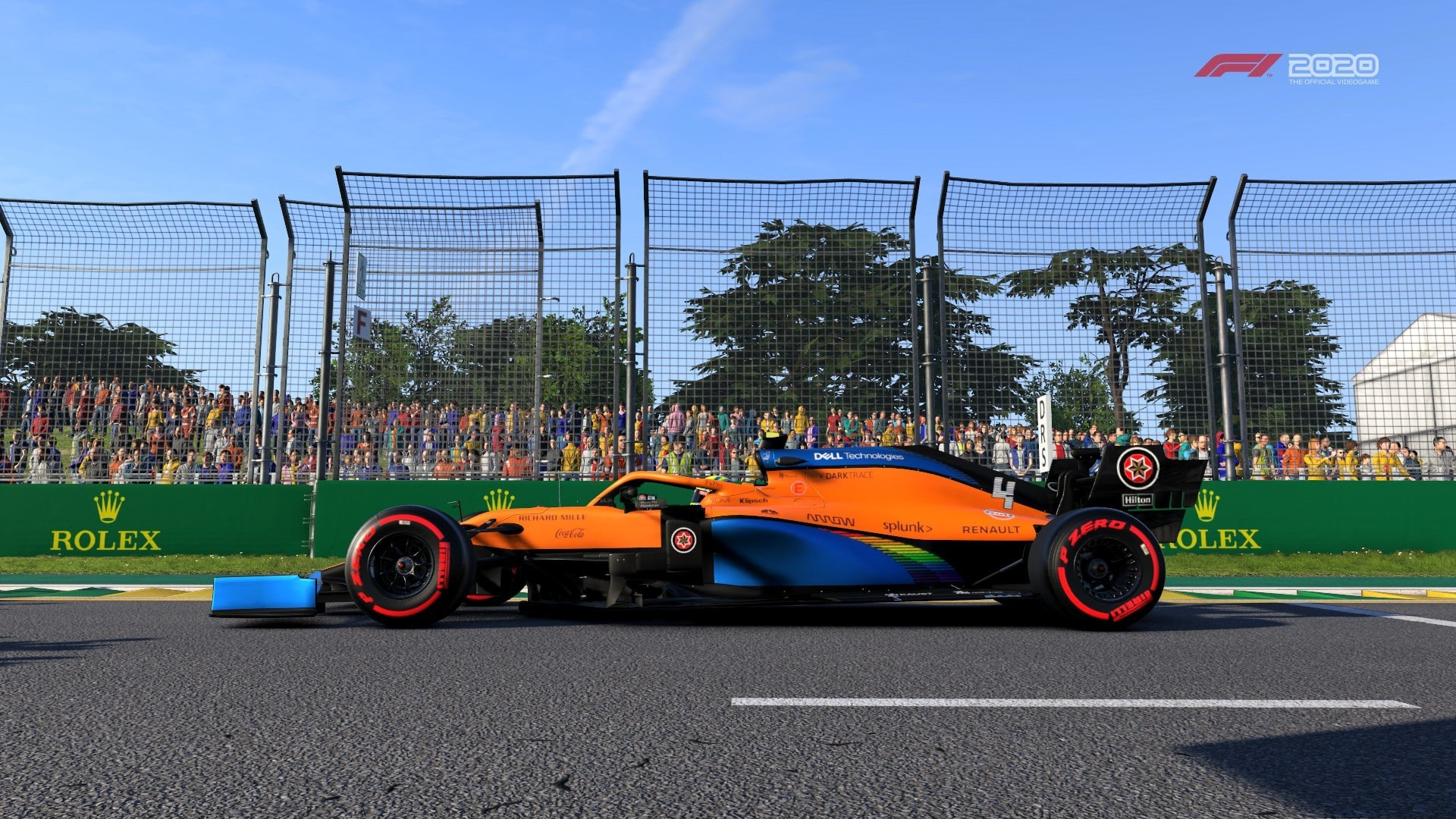 An image of a McLaren in the F1 2020 game driving at Albert Park.