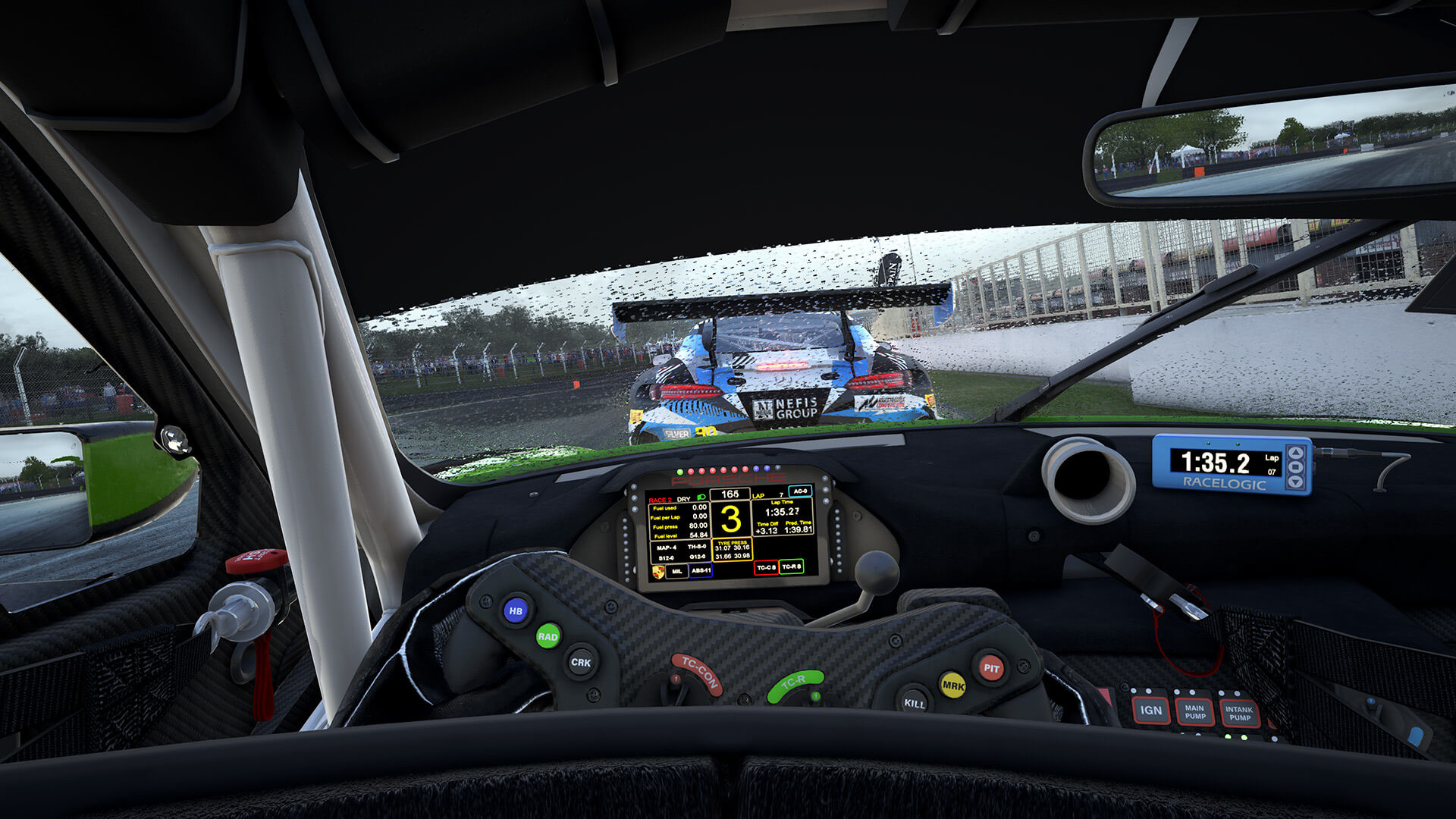 An image of the interior of a racing car within Assetto Corsa.