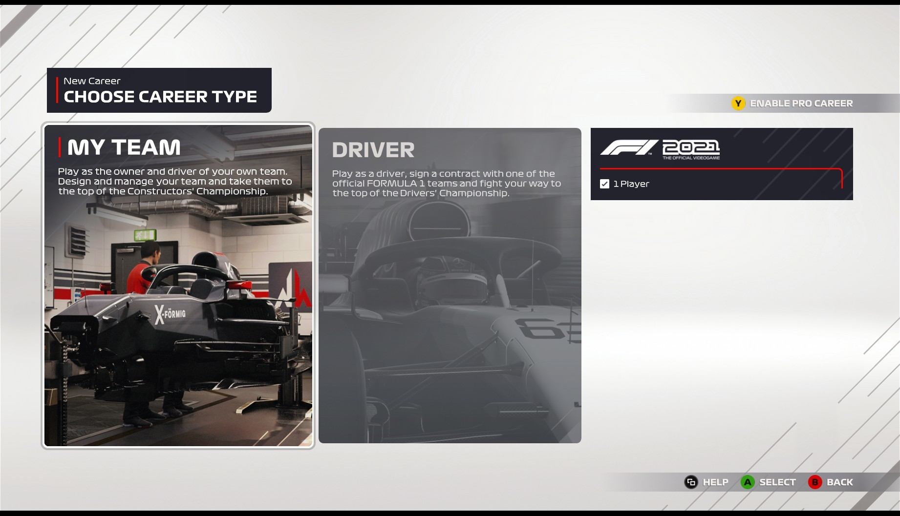 An image of the in-game menus in F1 2021, showing the option to play My Team mode.