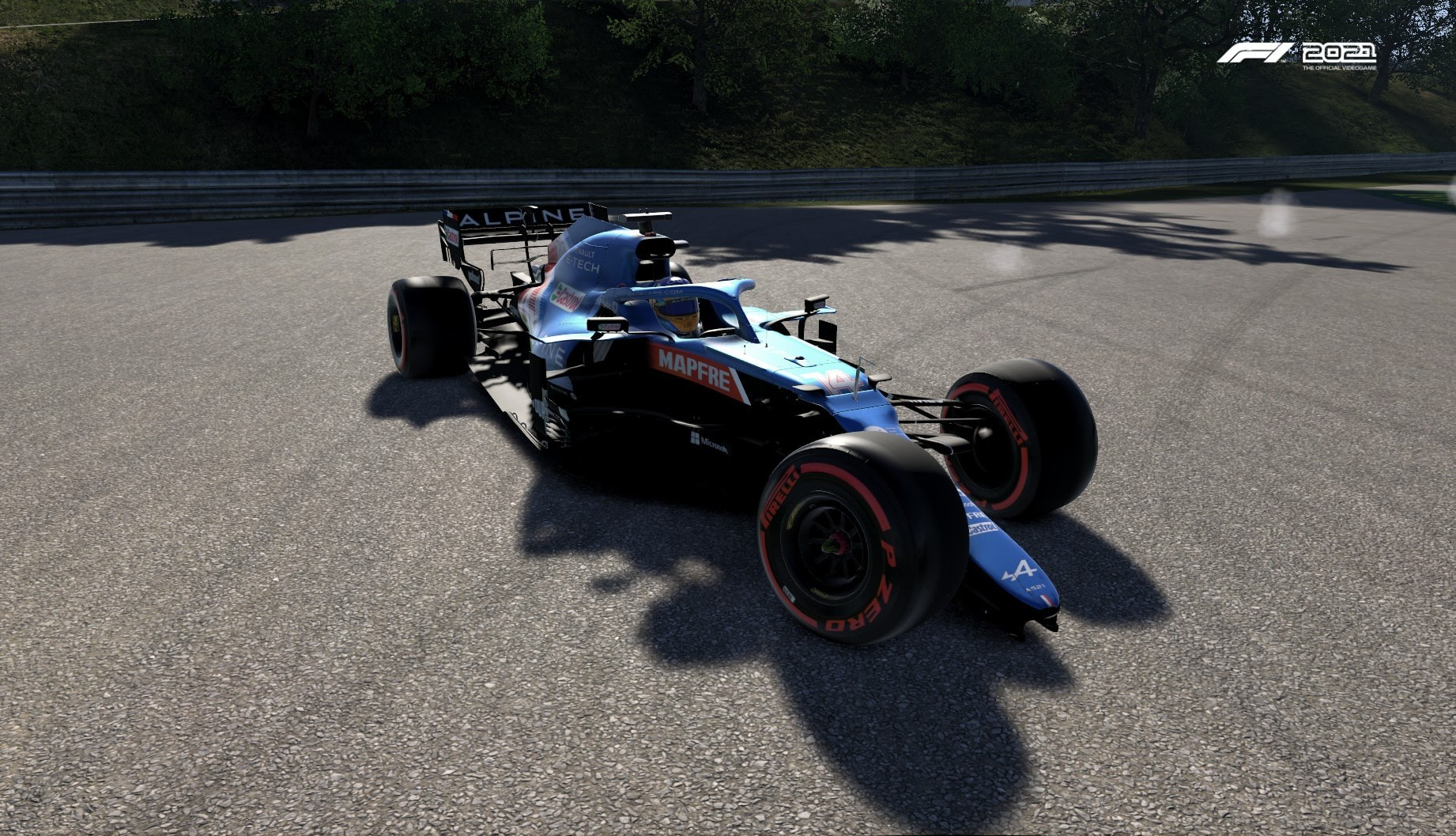 An image of an Alpine having crashed and suffered terminal damage in F1 2021.