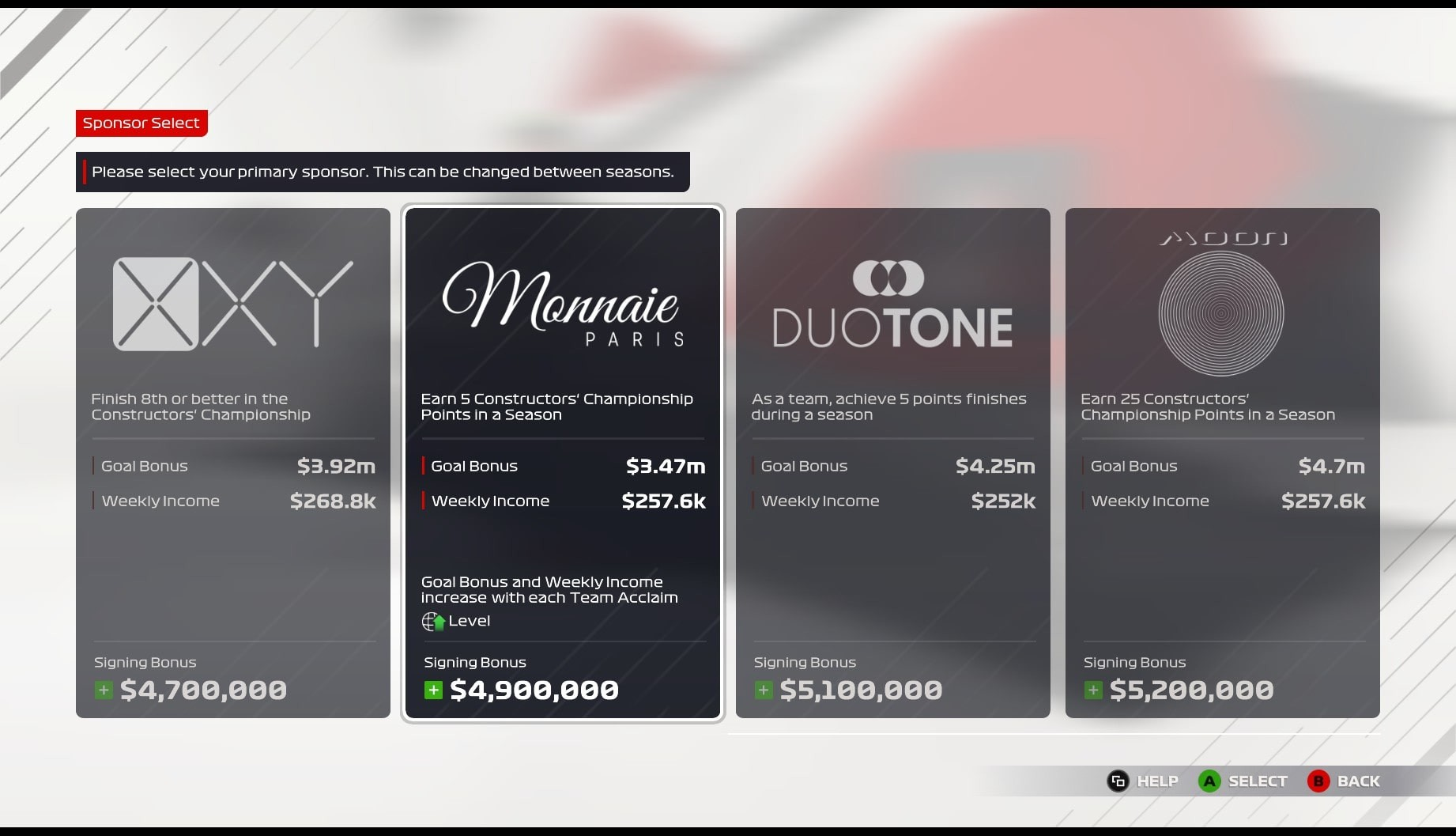 An image of the sponsor selection screen in F1 2021's My Team mode.