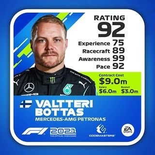 An image of Valtteri Bottas and his stats.