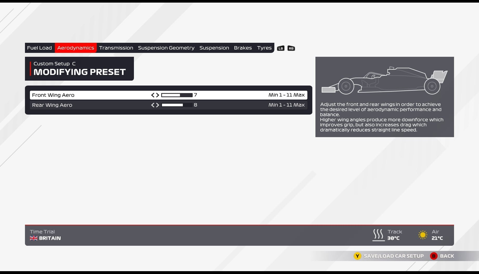 An image of the aerodynamics page of the F1 2021 car setup screen.