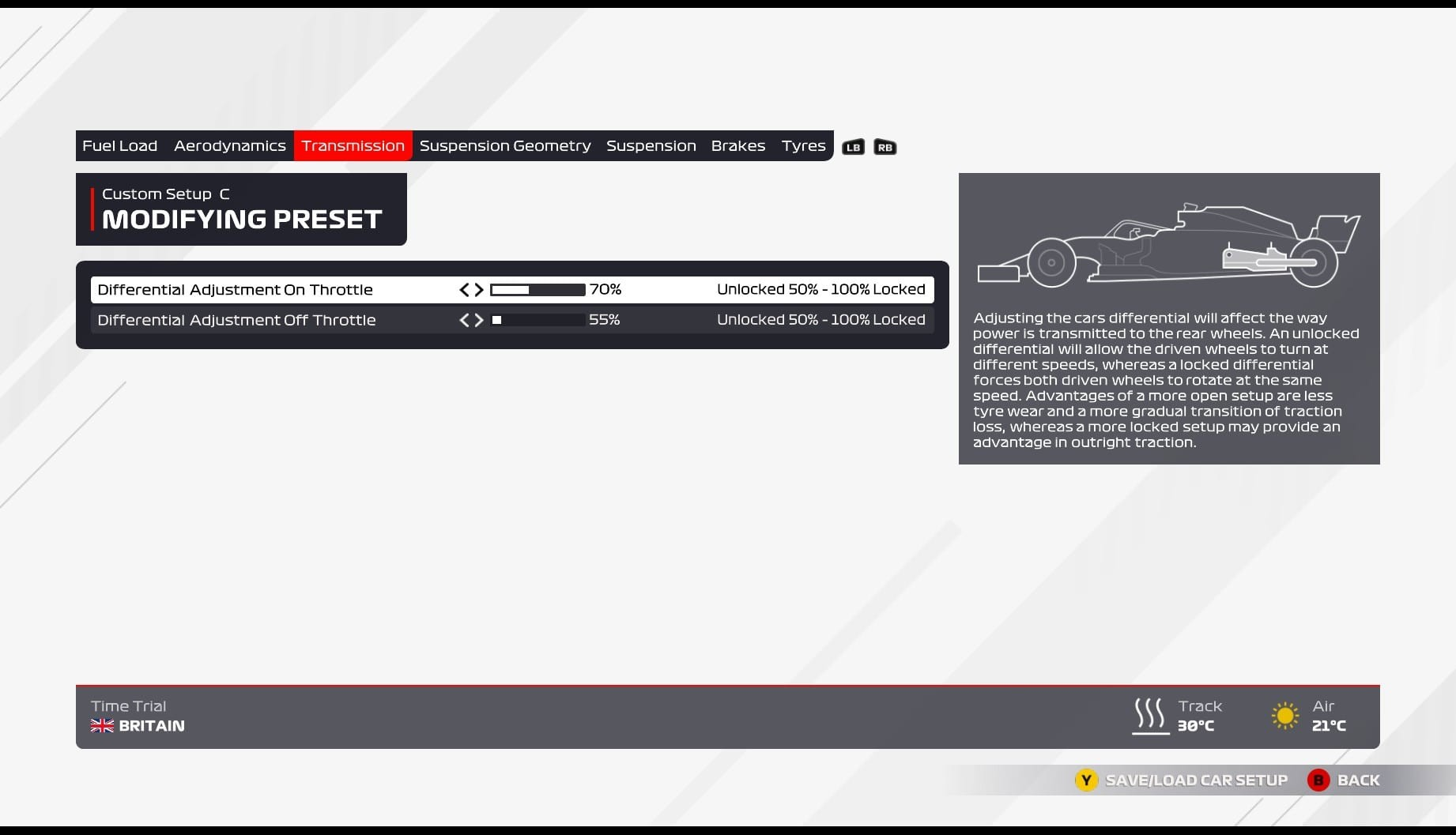An image of the transmission page of the F1 2021 car setup screen.