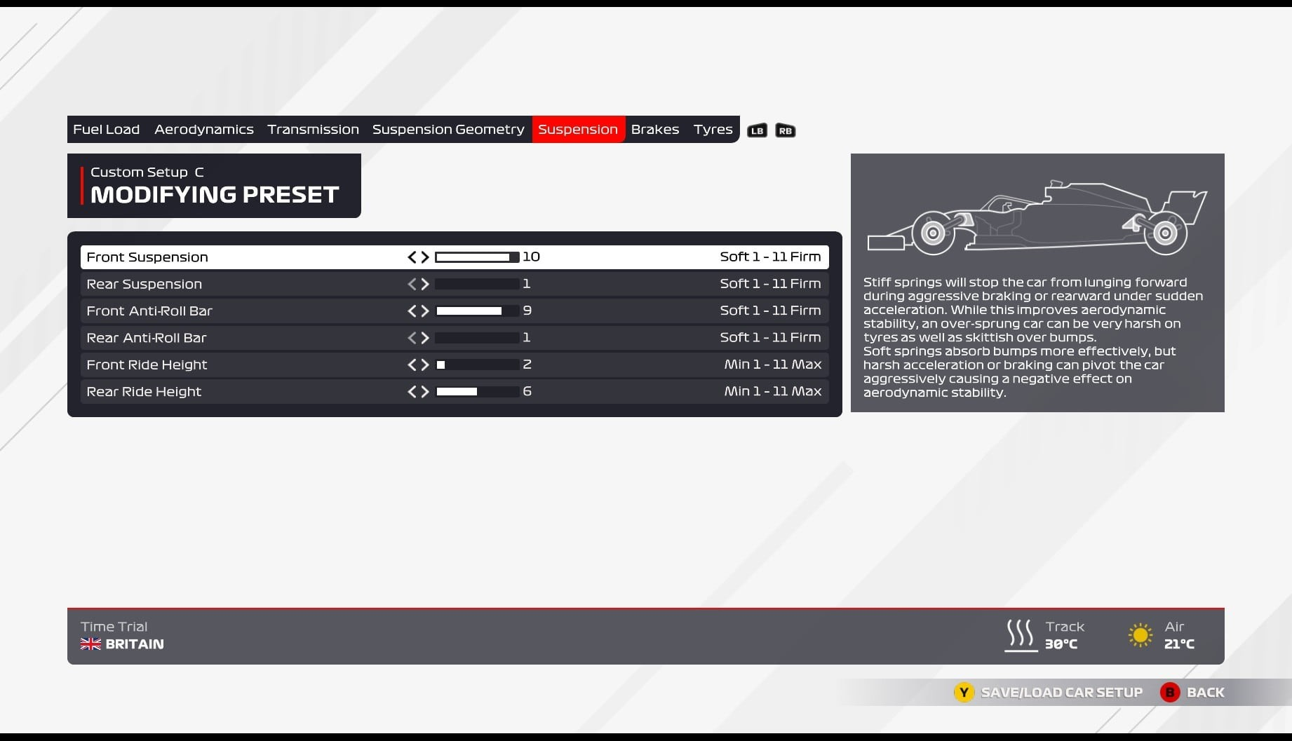 An image of the suspension page in the F1 2021 car setup screen.