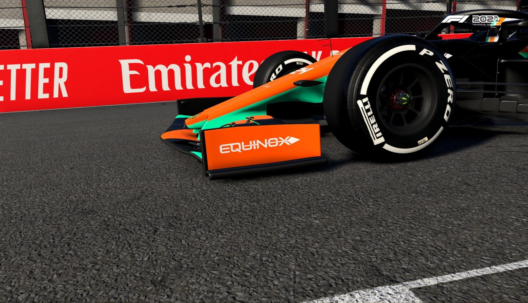 An image of the Equinox sponsor logo on the front wing of an F1 car in F1 2021.