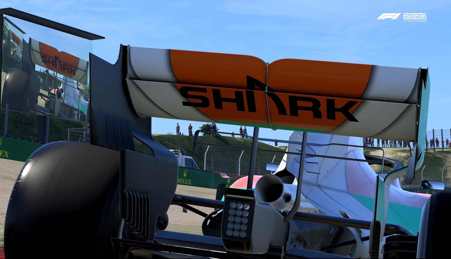 An image of the Shark logo on the rear wing of an F1 car in F1 2021.