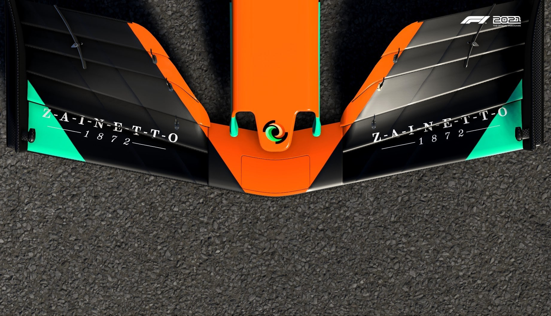 An image of the Zainetto logo on the front wing of an F1 car in F1 2021.