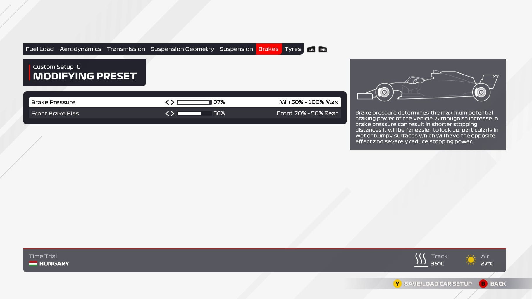 An image of the brakes page of the F1 2021 setup menu.