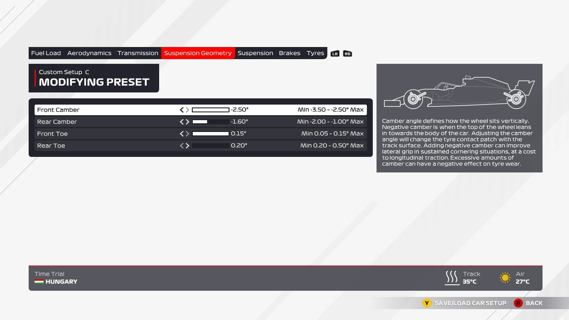 An image of the suspension geometry page of the F1 2021 setup menu.