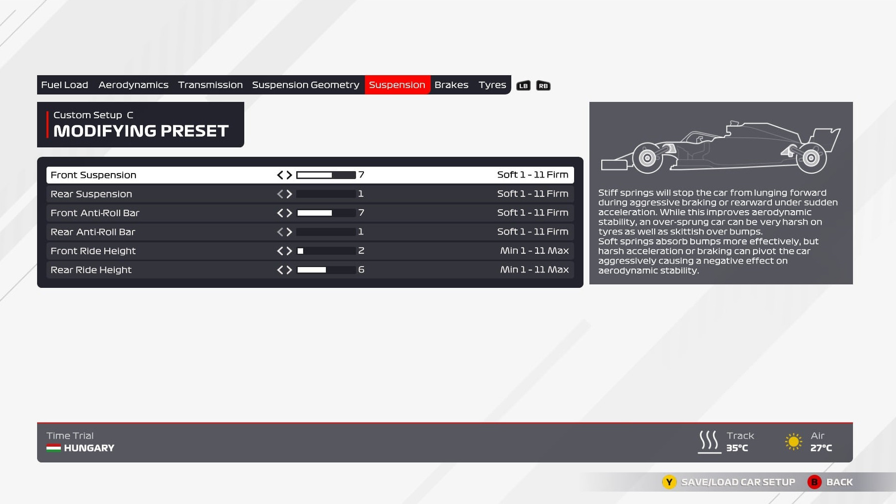 An image of the suspension page of the F1 2021 setup menu.