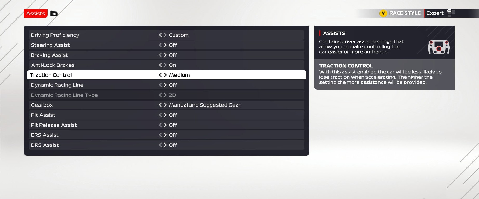 An image of the assists menu in F1 2021, with the traction control set to medium and the ABS set to on.