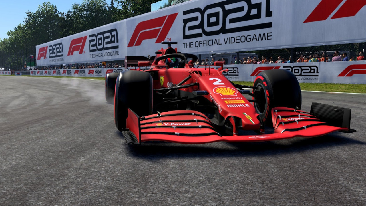 An image of a Ferrari locking its front brakes in F1 2021.