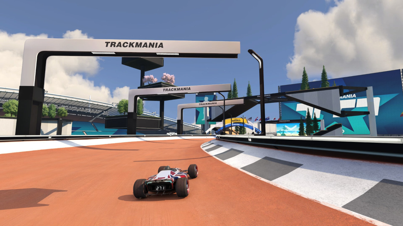 An image of a car driving on map 01 in Trackmania.