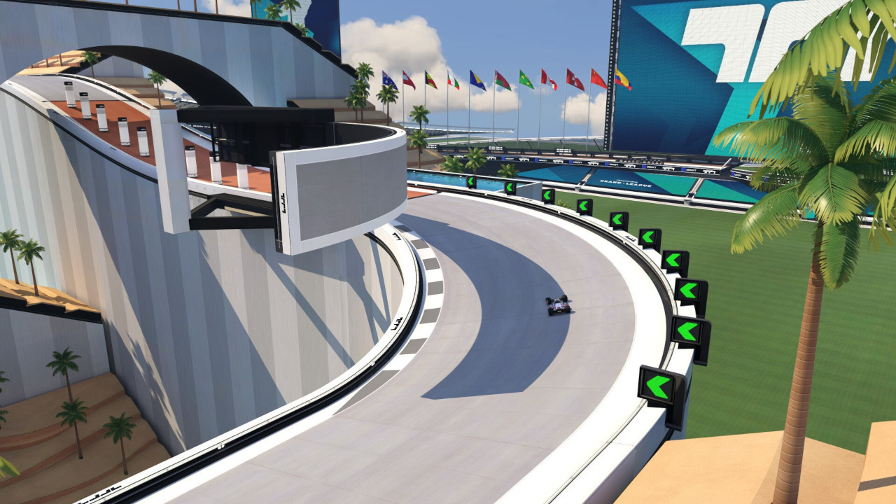 An image of a car taking turn three of map 02 in Trackmania.