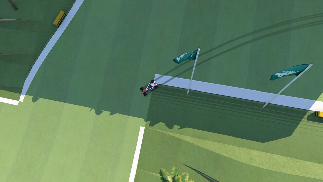 An image of a car cutting the inside of turn one in map 03 in Trackmania.