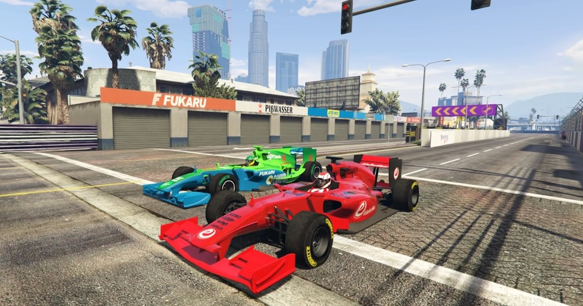 Two Benefactor BR8 cars racing side-by-side on the streets of Los Santos.