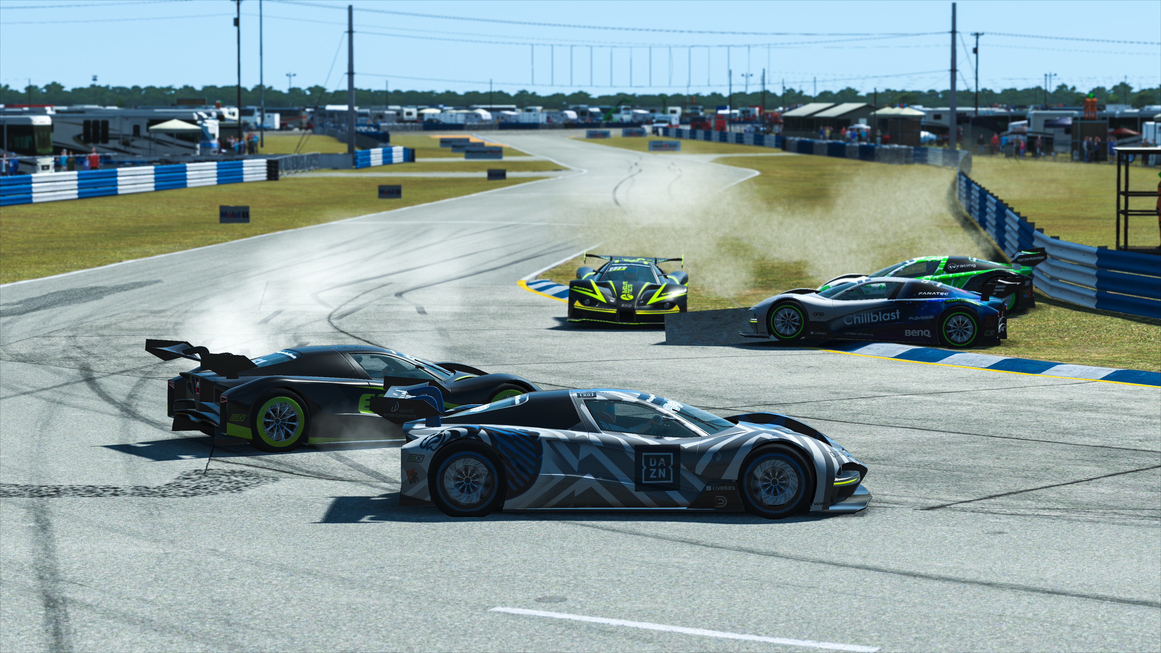 A load of virtual racing cars colliding with each other at high speed.